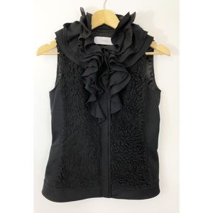 T Tahari Black Button Up Vest with Ruffle Collar